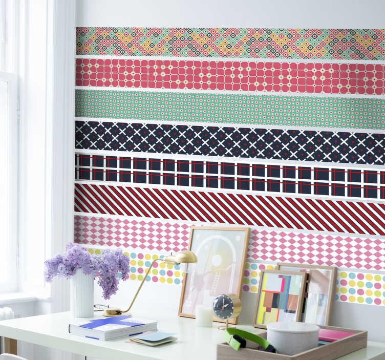 TenStickers. Naklejki - Wzorzyste Paski. Kolorowe naklejki na ścianę przedstawiające dekoracyjne paski, które odnajdą się na każdej, gładkiej powierzchni w domu.