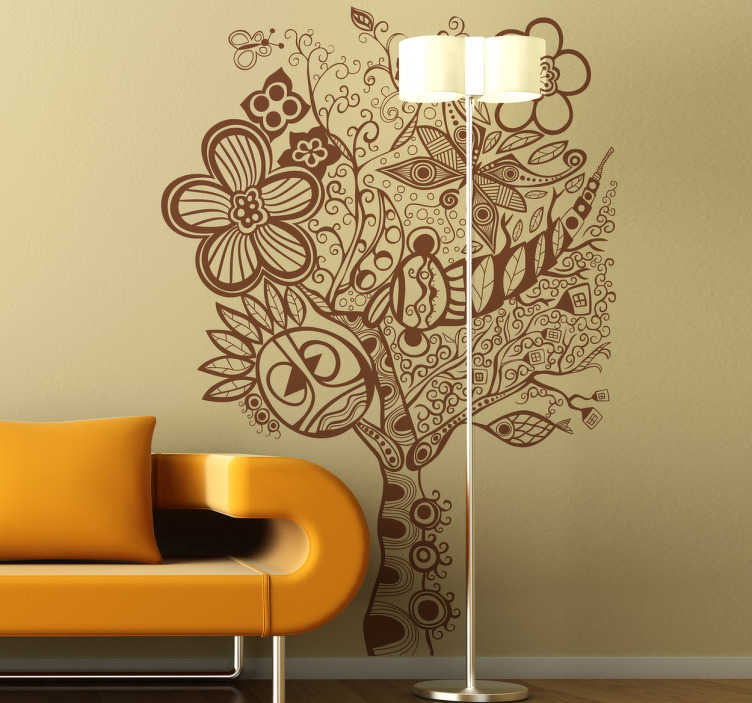 TenStickers. hippie tree wall decal. Take a look at this original hippie tree wall sticker and bring in your home something really spectacular capable of improving your rooms!