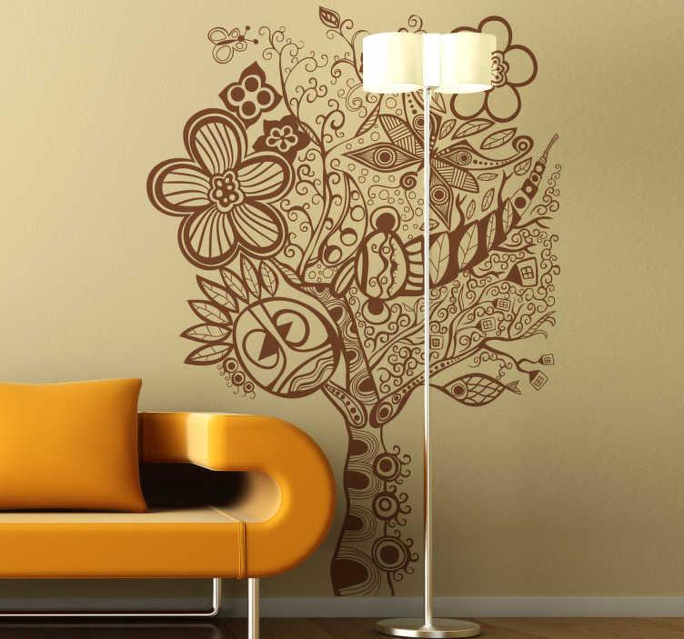 TenStickers. Autocolantes parede de árvore hippie. Este adesivo de parede ilustra a silhueta de uma árvore mais ''hippie'', perfeita para expôr na sua sala de estar e relembrar-se da natureza.