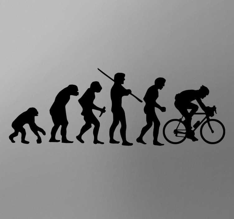 TenStickers. Wandtattoo Evolution Fahrradfahrer. Ob Fahrradfahrer wirklich die höchste Stufe der Evolution sind wollen wir hier nicht beurteilen, das darf jeder für sich entscheiden.