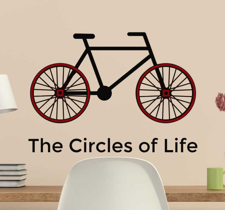 """TenStickers. Wandtattoo Fahrrad Circles of Life. Dieses sportliche Wandtattoo eines Fahrrads mit eingefärbten Reifen und dem Text """"The Circles of Life"""" ist die perfekte Deko für alle Biker"""