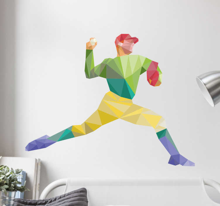 TenStickers. Muursticker sport honkbal pitcher. Sport muursticker met een stoere honkballer die een pitcher is, in verschillende gekleurde geometrische vormen.