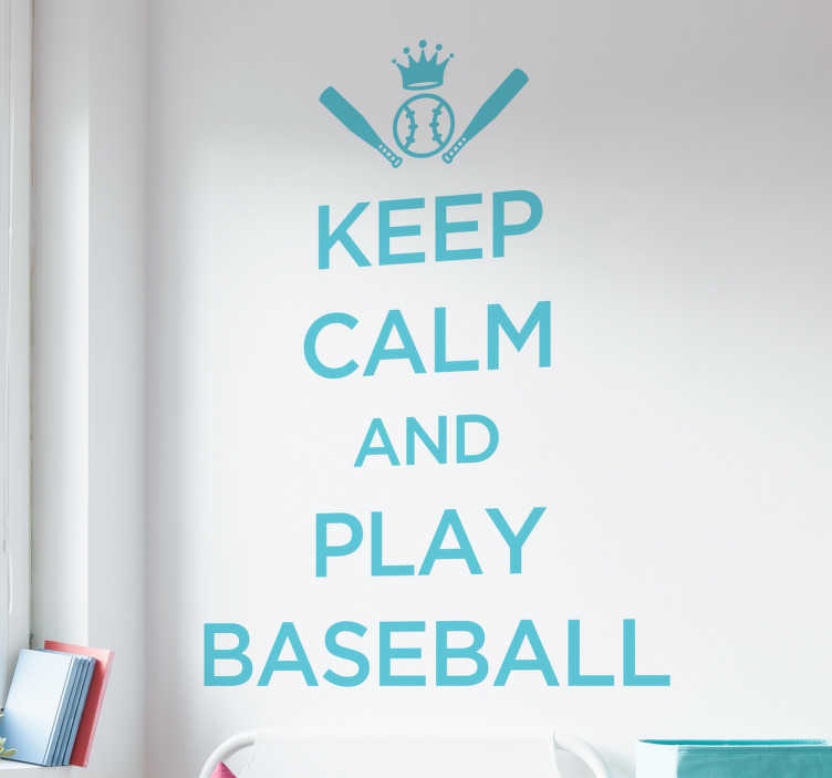TenStickers. Naklejka Keep Calm and Play Baseball. Naklejka na ścianę prezentująca tekst w języku angielskim 'Keep Calm and Play Baseball'.
