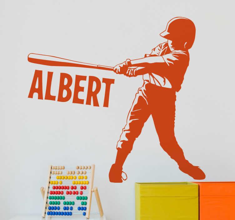 TenStickers. Naklejka personalizowana baseball. Personalizowana naklejka przedstawiająca chłopca w baseball.