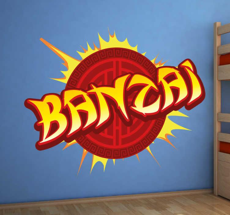 TenStickers. Muursticker Banzai. Muursticker bedrukt met een simpel woord: Banzai! Een mooie en felle wanddecoratie voor iedereen die zijn of haar muren wat spannender wil maken.