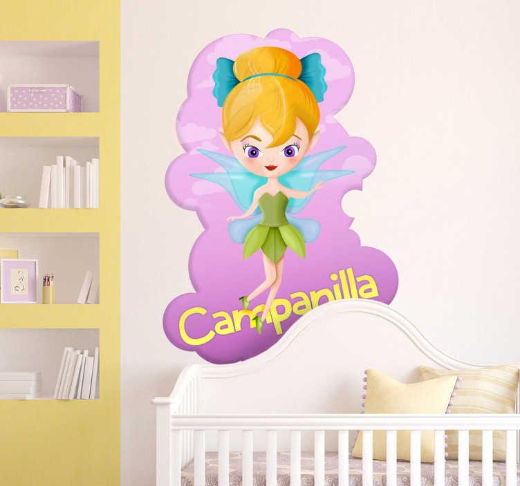 TenVinilo. Vinilo infantil Campanilla con texto. Ilustración de Campanilla con el pelo rubio y un lazo recogiendo un moño. Uno de los vinilos infantiles de la colección cuentos clásicos.