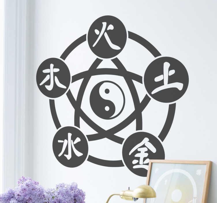 Tenstickers. Kiinalaisen lääketieteen viisi elementtiä. Kiinalainen lääketiede perustuu viiteen elementtiin, tai vaiheeseen, joita ovatvesi, puu, tuli, maa ja metalli. Tässä sisustustarrassa nuo elementit kiinalaisilla kirjoitusmerkeillä esitettynä