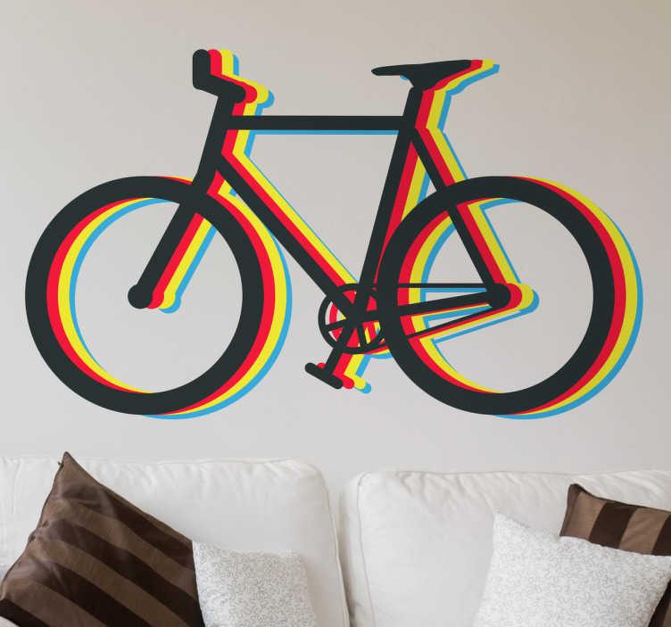 TenStickers. Wandtattoo Fahrrad Multicolor. Ein buntes Wandtattoo zum Thema Fahrrad. Durch die Farbanordnung entsteht bei diesem Design ein leichter 3D-Effekt.