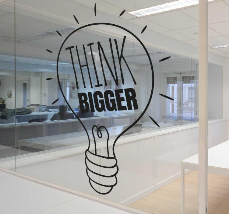 TenStickers. Dekoracja Think Bigger. Naklejka prezentująca żarówkę i napis ' Think Bigger'.