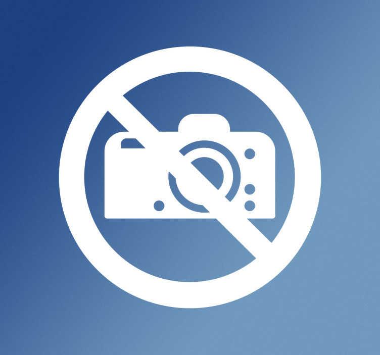 TenStickers. Sticker signe photos interdites. Autocollant avec le signe de photos interdites. Si votre entreprise ne veut pas que les clients prennent des photos, ce signe est parfait.