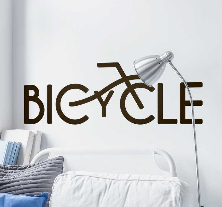 "TenStickers. sticker bicycle. Un sticker décoratif de texte ""Bicycle"", applicable sur toutes surfaces planes et personnalisable en dimensions et en couleur."