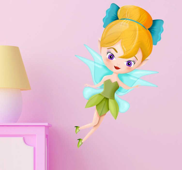 TenStickers. Naklejka dla dzieci dzwoneczek. Naklejka na ścianę dla dzieci z frunącym Dzwoneczkiem z bajki Piotruś Pan.