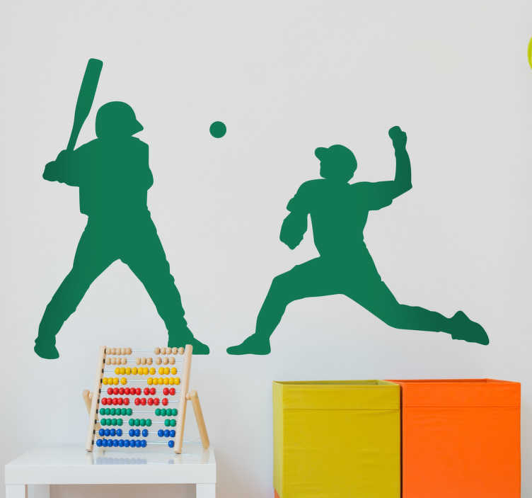 TenVinilo. Pegatina dúo jugadores baseball. Pegatinas baseball ideales para personalizar la estancia de los más jóvenes de casa con el perfil de dos jugadores: lanzador y bateador.