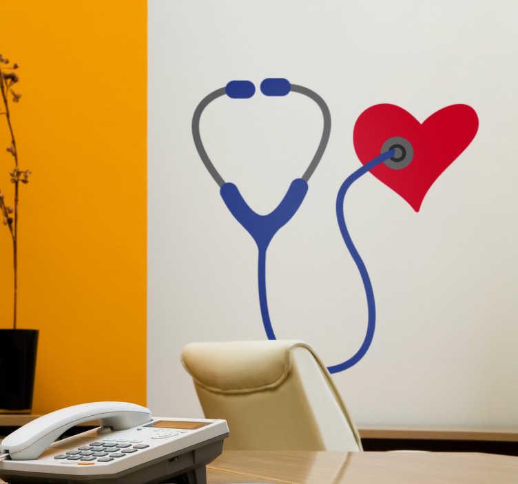 TenVinilo. Vinilo estetoscopio corazón. Vinilos murales para médicos y consultas con el dibujo de un estetoscopio y la figura de un corazón.
