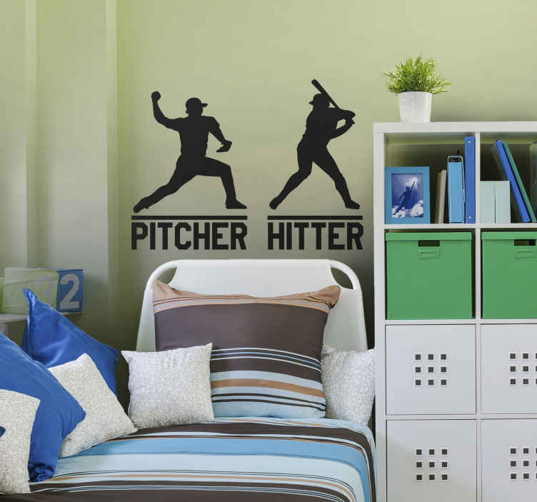 TenVinilo. Pegatina baseball pitcher hitter. Vinilos baseball con el perfil de dos jugadores: lanzador y bateador (hitter y pitcher en inglés).