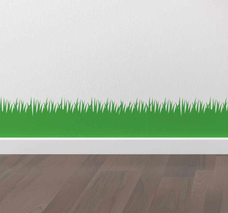 TenStickers. Wandtattoo Rasenkante. Dieses schöne Wandtattoo bringt etwas grün in Ihr Zuhause. Es zeigt eine stilisierte Rasenkante, man kann die einzelnen Grashalme erkennen