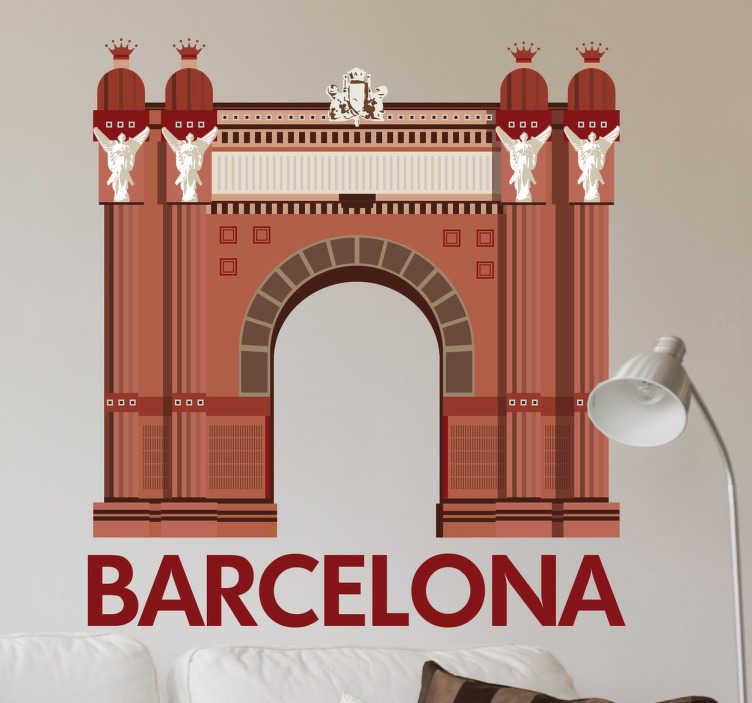 """TenStickers. Wandtattoo Arc de triomf. Dieses Wandtattoo zeigt den Arc de Triomf in Barcelona. Der Triumphbogen wird schön dargestellt, drunter steht """"Barcelona""""."""