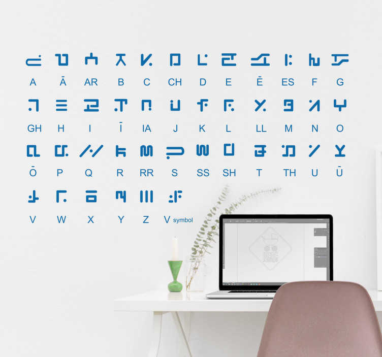 TenStickers. Wandtattoo Alien Alphabet. Dieses Wandtattoo zeigt ein Alphabet auf einer einer Sprache, die nicht von dieser Welt scheint. Helft uns doch, diese Sprache zu entziffern.