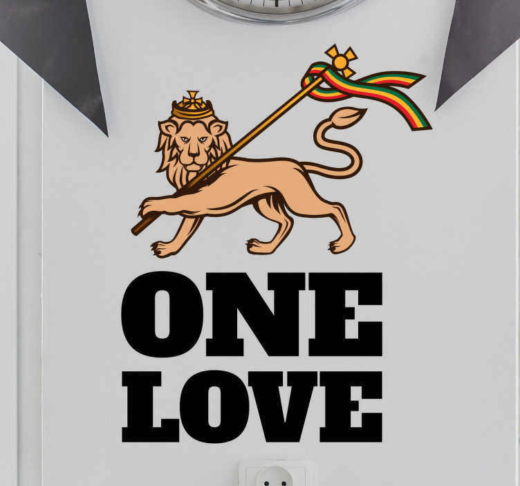 TenStickers. Nalejka Lew Rasta One Love. Naklejka ozdobna przedstawiająca lwa wraz z flagą w barwach rasta oraz napisem One Love.