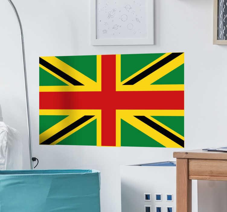 TenVinilo. Vinilos bandera Rasta Gran Bretaña. Vinilo decorativo con una representación de la bandera de Gran Bretaña con los colores modificados, relacionados con el mundo rastafari.