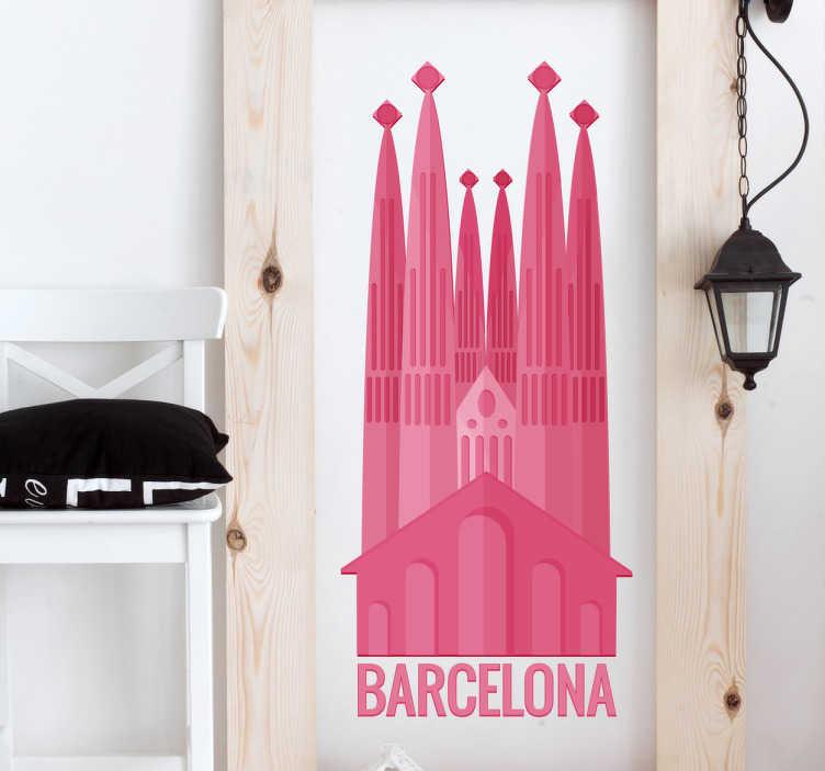 TenStickers. Muursticker Barcelona Sagrada Familia. Muursticker bedrukt met een van de mooiste en bekendste monumenten uit de prachtige stad Barcelona; de Sagrada Familia.