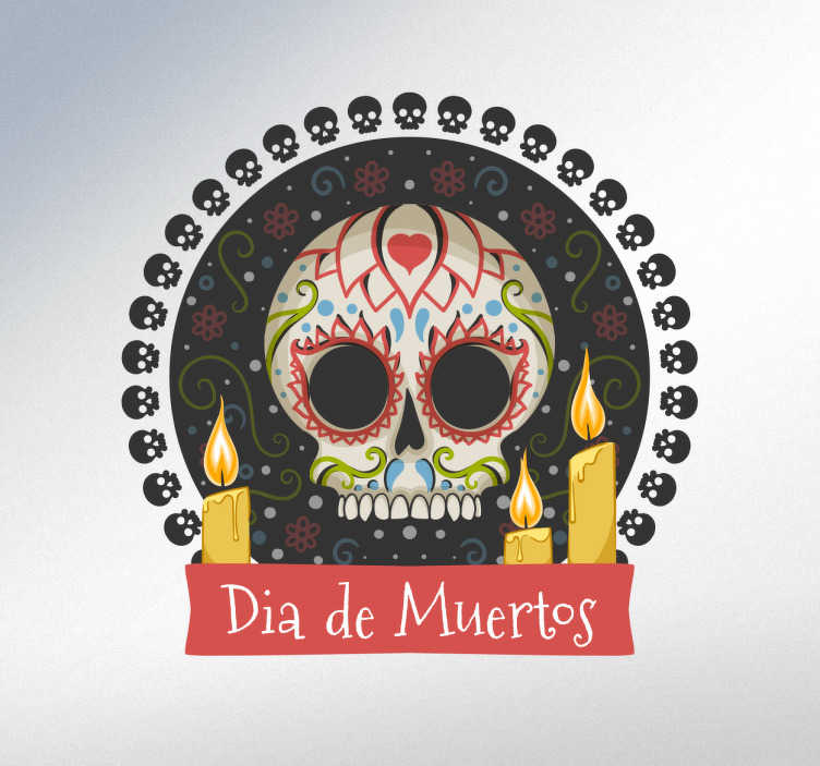 TenStickers. Sticker jour des morts crâne. Sticker Mexique avec une représentation colorée idéale pour décorer votre maison ou votre entreprise avec le crâne.