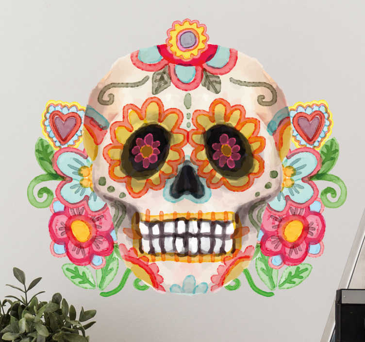TenStickers. Day Of The Dead Skull Wall Sticker. Wall Sticker printed with a skull in the style of the Day of the Dead, with a beautiful and colourful design.