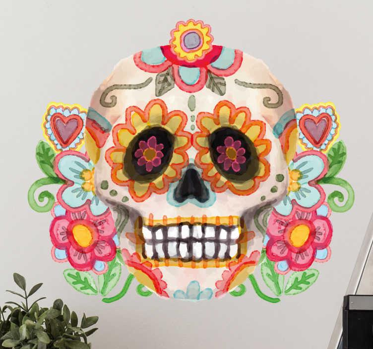 TenVinilo. Vinilo acuarela calavera día de muertos. Vinilos México con una colorida ilustración de una calavera, ideal para decorar tu casa o tu establecimiento el día de Halloween.