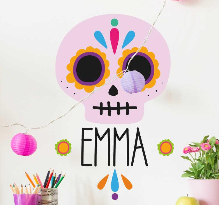 TenStickers. personalisierbares Wandtattoo México. Dieses Wandtattoo zeigt einen schön gezeichneten Totenkopf wie er am mexikanischen Día de Muertos gebraucht wird.