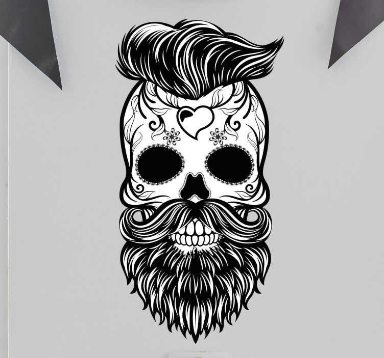TenStickers. 힙 스컬 해골 스티커. 두개골 벽 스티커 및 이발사 스티커 - hipster 작풍 이발, 수염 및 귀영 나팔을 가진 두개골을 특색 짓는 유일한과 고유 스티커.