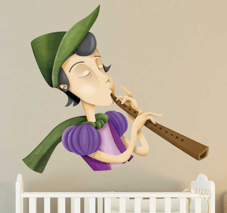 TenStickers. Sticker kinderen rattenvanger van Hamelen. Een muurfoto van de rattenvanger van Hamelen met zijn fluit en groene hoed. Prachtige gekleurde wanddecoratie voor de baby-of kinderkamer.