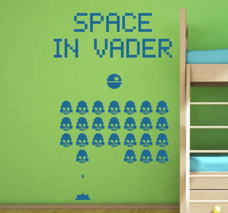 TenVinilo. Pegatinas frikis space in vader. Viste las paredes de tu hogar con este fantástico vinilo friki que junta la pasión por el caballero Sith y los matamarcianos de los años 80.