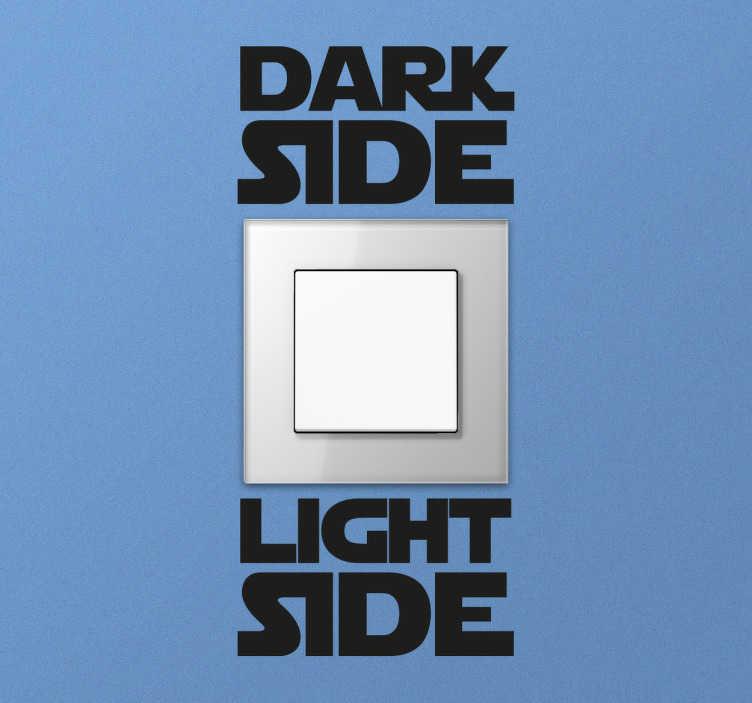 TenStickers. Adesivo coppia Dark Light Side. Adesivo murale per personalizzare in modo simpatico gli interruttori della luce con le scritte Dark Side e Light Side.