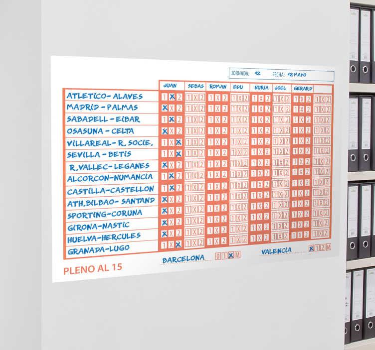 TenVinilo. Vinilos vileda quiniela. Vinilos pizarra Vileda con una representación de un boleto de este popular juego de azar que podrás utilizar en tu oficina o en tu casa.