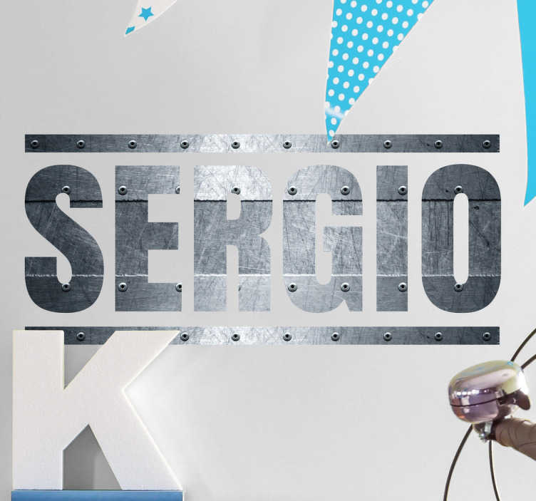 "TenStickers. Custom Name Metal Effect Wall Sticker. Awesome personalised text wall sticker showing a name of your choice written in a metal pattern font with steel effects, in this case ""SERGIO"". This amazing name decal is perfect for decorating a teenager's room in a way that feels unique and personal to them."