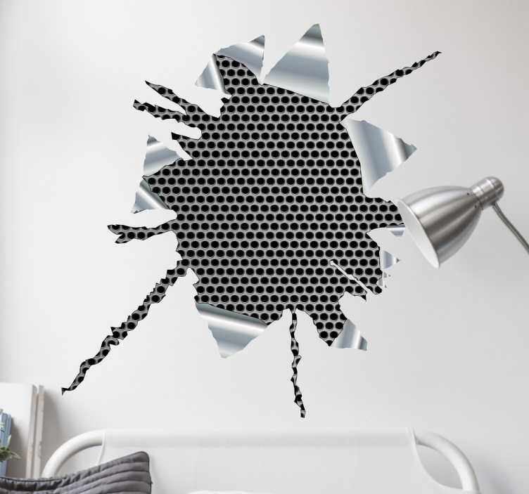 TenStickers. Wandtattoo 3D Effekt Metall. Dekoratives Wandtattoo mit 3D-Effekt in Metalloptik. Der 3D-Aufkleber sieht aus, als wäre die Wand aufgebrochen und dahinter wäre ein Metallgitter.