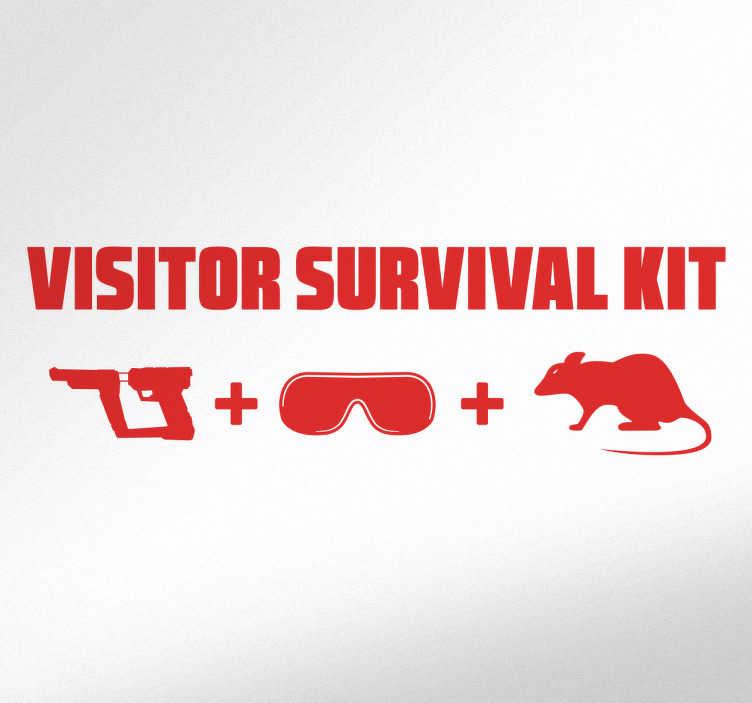TenStickers. Sticker visitor survival kit. Adhésif mural conçu pour tous les fans des années 80, la série télévisée et de la culture étrangère.