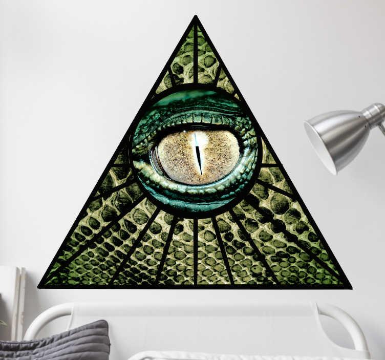 TenStickers. Aufkleber Reptilienauge. Dieser Aufkleber zeigt ein grünes Reptilienauge welches einen direkt aus einer Pyramidenform anschaut.