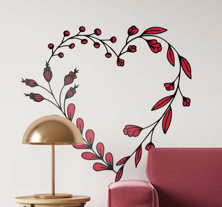 TenStickers. Dekorativt blomster silhuet wallsticker. Kreativ blomster sticker lavet som dekorativ silhuet. Denne wallsticker er den ideelle sticker til stuen, værelset eller andre placeringer i hjemme.