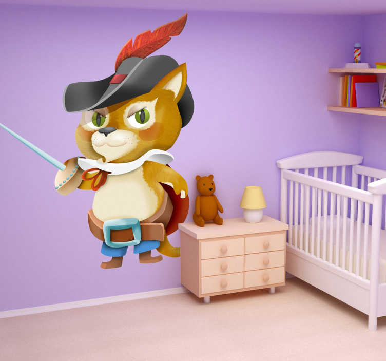 TenStickers. Puss in Boots Children´s Wall Sticker. Puss in Boots Kids Sticker! A child will love this car sticker of the famous Puss in Boots. Puss is holding a sword and is ready to fight! The children´s bedroom sticker is eye-catching and gives the room a fun and colourful look.