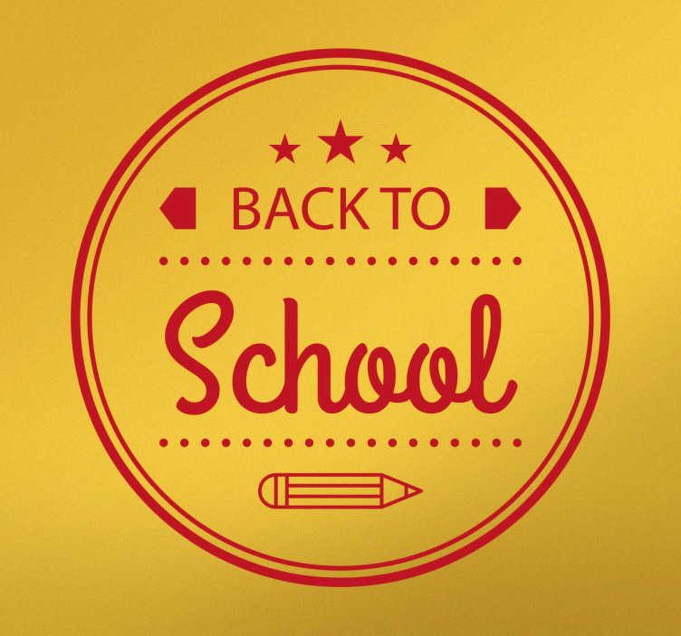 """TenStickers. Naklejka winylowa Back to School. Naklejka winylowa, przedstawiająca frazę w języku angielskim """"Back to school'' czy """"Powrót do szkoły'', ozdobiona wzorami i ołówkiem."""