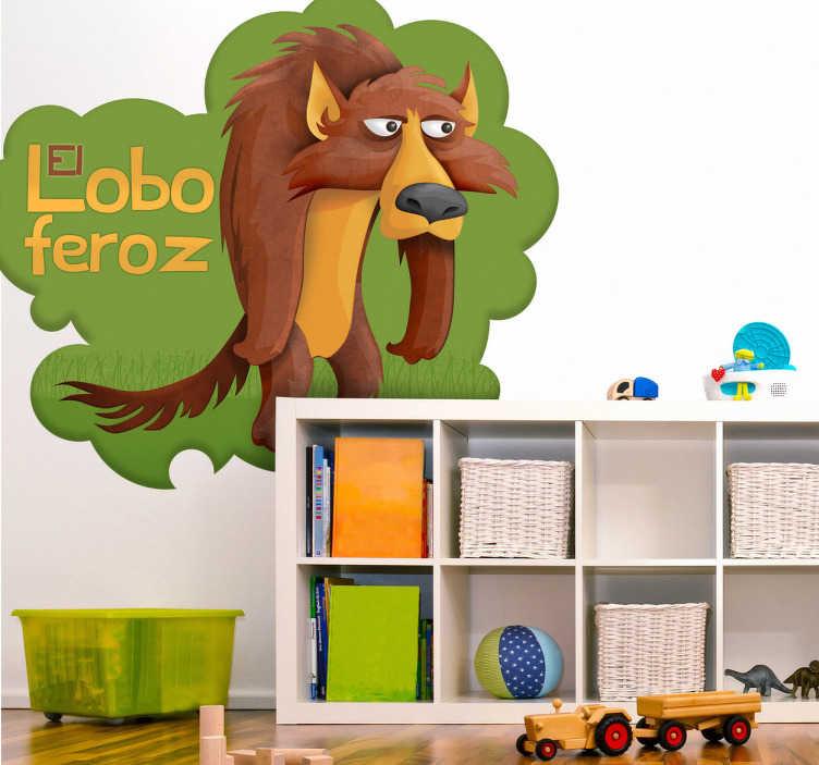 TenVinilo. Vinilo infantil lobo feroz con texto. Ilustración del Lobo Feroz esperando la llegada de Caperucita Roja. Uno de los vinilos infantiles de la colección cuentos clásicos.