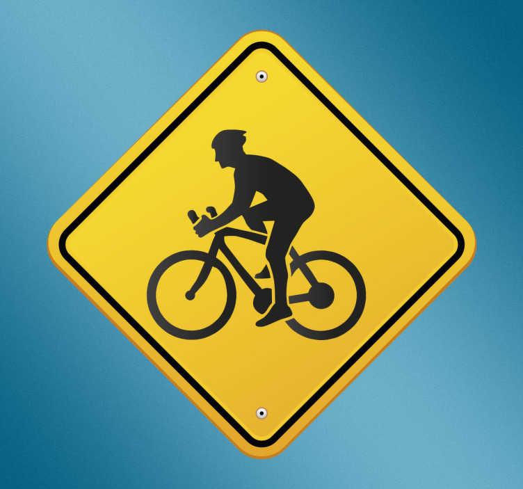 TenStickers. Muursticker waarschuwingsbord fietsers. Muursticker met een waarschuwingsbord dat je waarschuwt voor overstekende fietsers, leuke en opvallende wanddecoratie.