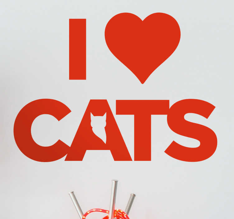 TenStickers. Muursticker I love Cats. Muursticker bedrukt met de zin I love Cats, het woord love word hier afgebeeld door middel van een hartje en in de a van cats zie je een kat.