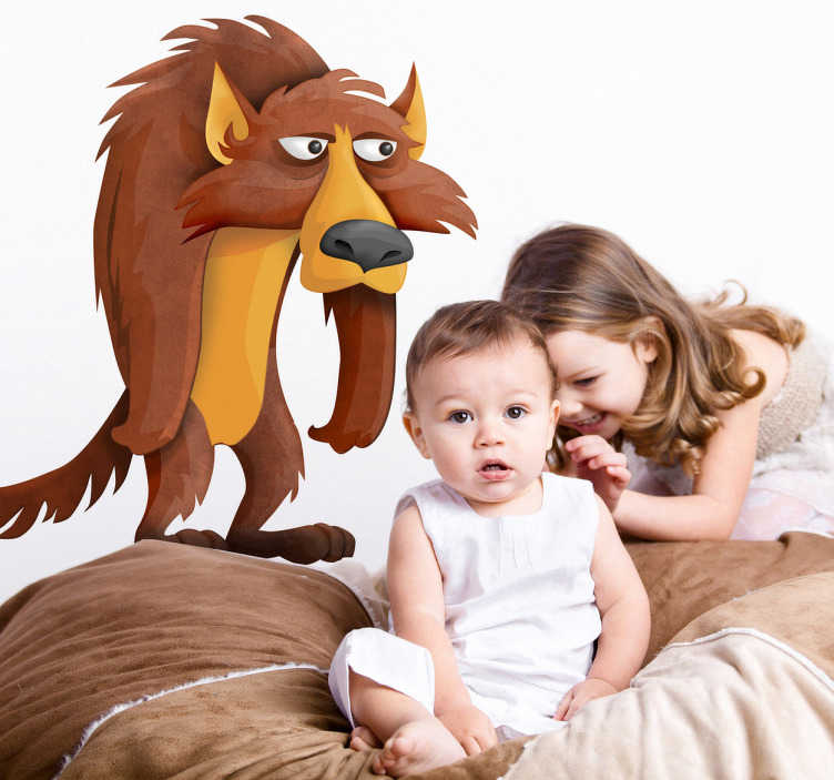 TenStickers. Grumpy Wolf Wall Sticker. Kid Wall Stickers-playful illustration of a grumpy wolf.  Ideal for the kids´bedrooms, nurseries and play areas