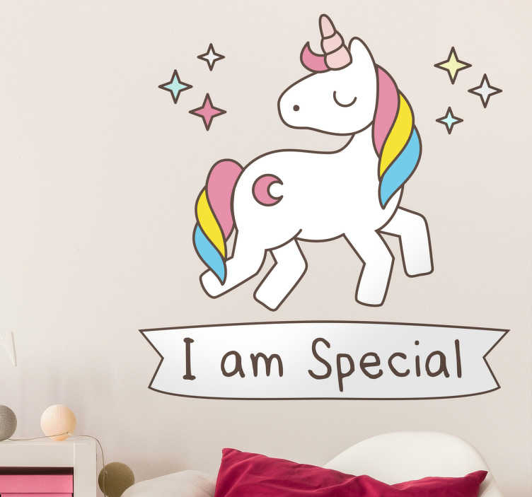 TenStickers. I Am Special Unicorn Wall Sticker. Unicorn wall stickers - A sparkling unicorn with the message I am special written underneath. The unicorn decal has a lovely rainbow coloured mane.