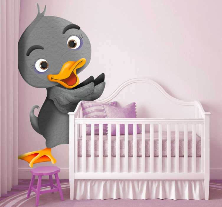 TenStickers. Kids Ugly Duckling Wall Sticker. Kid Wall Stickers;Playful illustration of a duck inspired by a childhood tale classic - The Ugly Duckling.