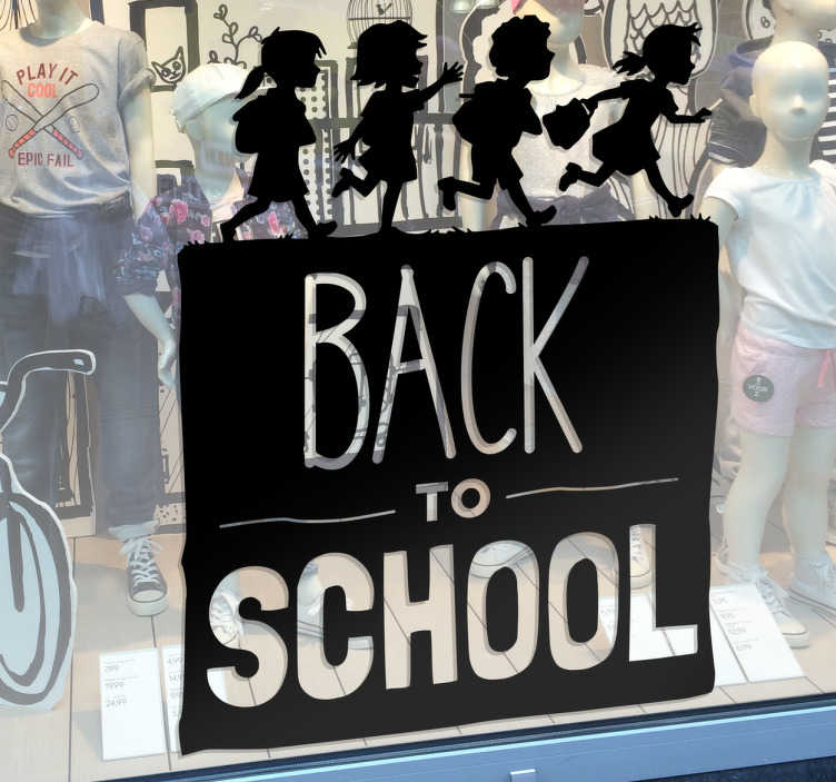 TenStickers. Back To School Window Sticker. Business Window Sticker. Decorate your shop window with this back to school sticker.