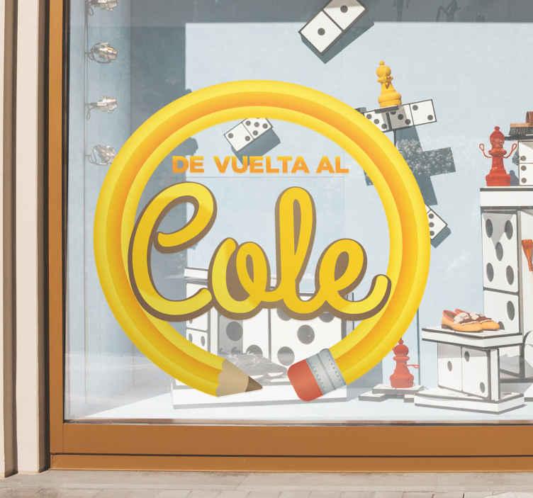 TenStickers. Aufkleber Back to School Bleistift. Dieser Aufkleber zeigt einen zum Kreis gebogenen Bleistift in Gelb. In diesem Kreis steht Back to School.