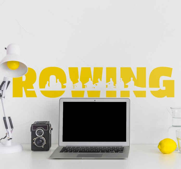 """TenStickers. Wandtattoo Text Rowing. Dieses Wandtattoo zum Thema Sport zeigt das Wort """"ROWING"""". In das Wort ist liebevoll ein stilisiertes Achter-Boot eingearbeitet."""